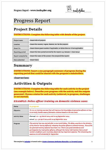 Progress Report Template by Progress Report Template Tools4dev