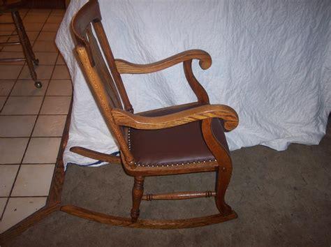 quartersawn oak empire rocker rocking chair brown leather