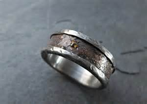 rustic engagement rings bronze wedding band silver rustic mens wedding ring