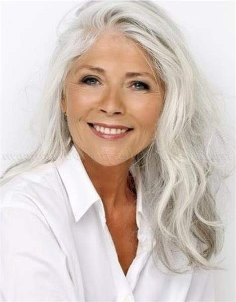 collection  long hairstyles  grey haired woman