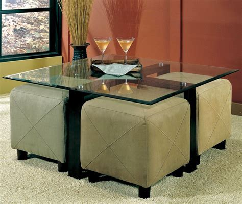 table with ottomans underneath my favorite so far glass coffee table with ottomans
