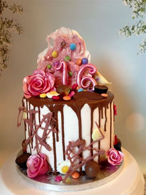 Cut strawberries, blueberries, raspberries, or blackberries make this cake naturally beautiful. 16th Birthday Dribble Cake https://www.birthdays.durban   16 year old birthday party ideas ...