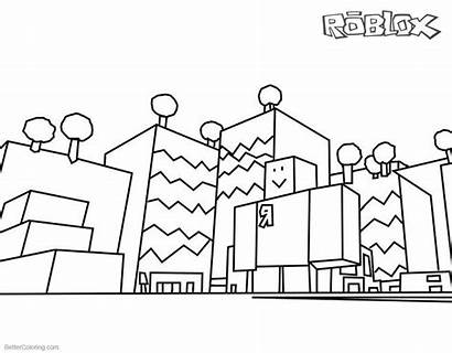 Roblox Coloring Pages Drawing Buildings Line Printable