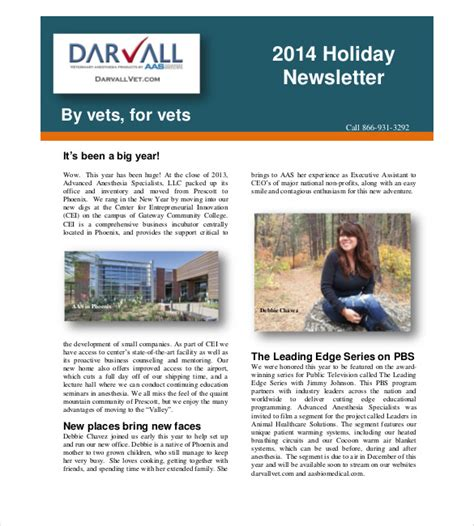 holiday newsletter templates  sample