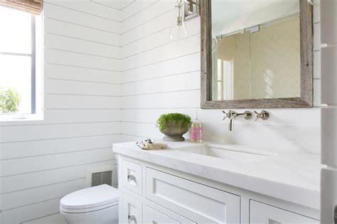 White Shiplap Bathroom by Guest Bathroom With Shiplap