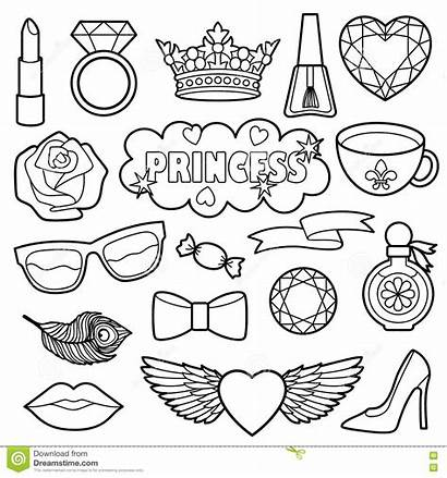 Coloring Princess Patches Stickers Vector Badges Clothes