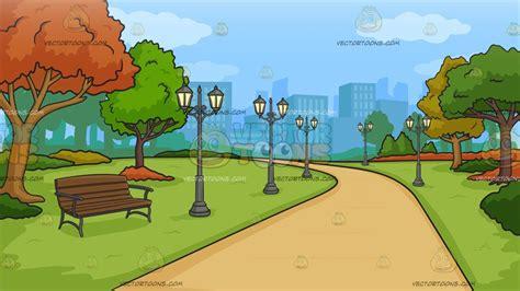 city park   autumn background clipart cartoons