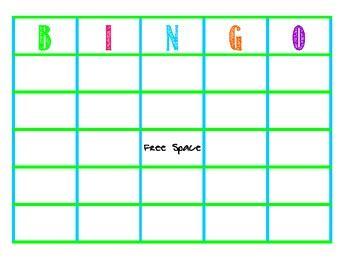 blank bingo cards  amanda smith teachers pay teachers