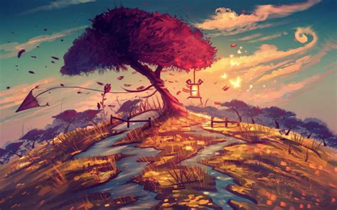 Artistic Backgrounds by Nature Tree Landscape Artwork Artistic Wallpaper