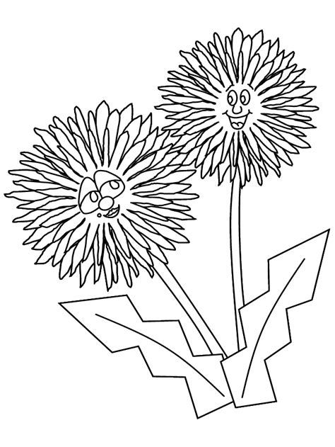 printable dandelion cartoon flowers coloring pages