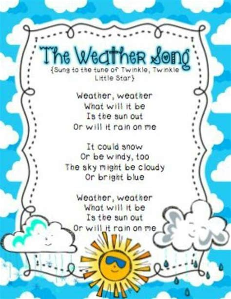 kindergarten songs weather song preschool poems preschoolers toddlers circle spring children music activities rhymes star types poem different printable lesson