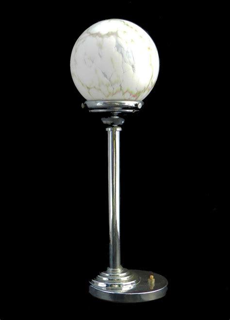 glass globe table l art deco table l marble glass globe chrome light