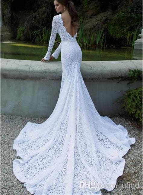long fitted lace wedding dress  long train  maestro