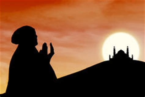 beautiful orange silhouette  muslim praying  mosque