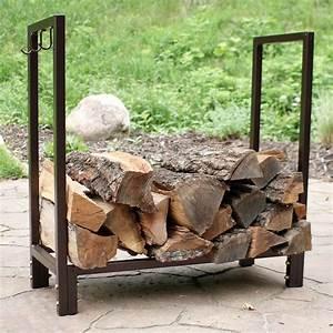 Sunnydaze, Log, Rack, 30, U0026quot, Steel, With, Bronze, Finish, Indoor-outdoor, Firewood, Storage