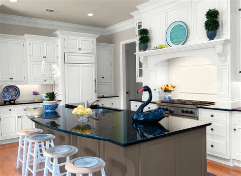 Kitchen In Fossil Grey, Dark Grey Island Cabinets