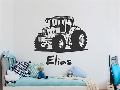 Wandtattoo Kinderzimmer Junge Traktor by Wandtattoo Trecker Mit Wunschname Traktor Wandtattoos De