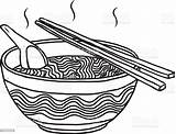 Noodles Bowl Vector Cartoon Sketch Drawn Background Illustration Isolated Hand sketch template