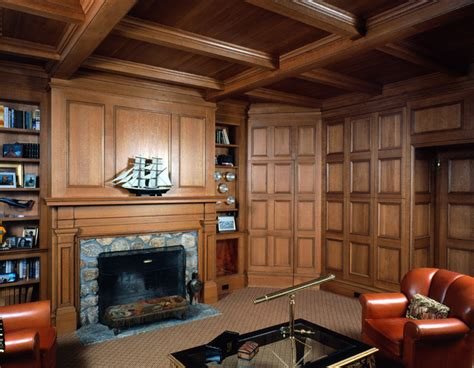 Oak Library With Stone Fireplace