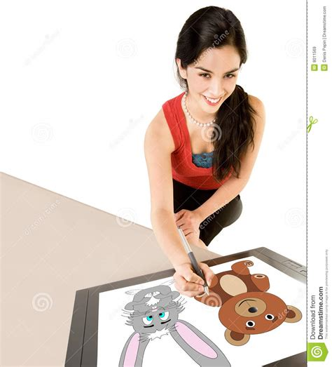 woman drawing  digital tablet royalty  stock images