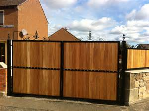 Wood and Wrought Iron Double Gates