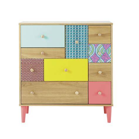 cabinet de rangement imprime en bois multicolore   cm bamako maisons du monde