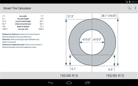 smart tire size calculator app ranking  store data