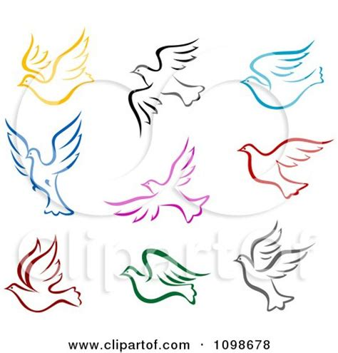 clipart colorful flying peace doves royalty  vector