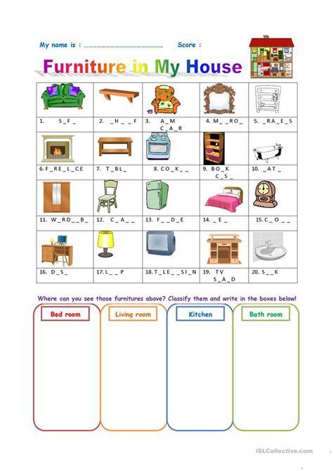 furniture worksheet worksheet  esl printable