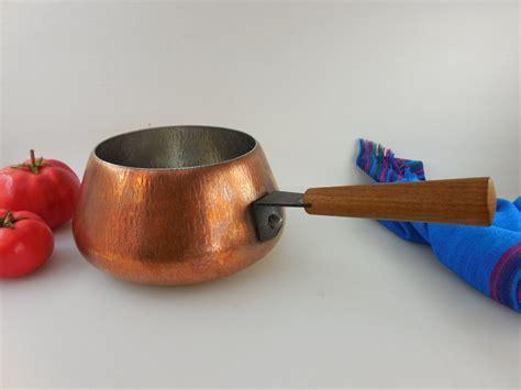 spring culinox switzerland fondue pot copper stainless teak handle vintage  mid century
