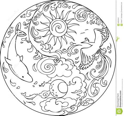 coloring tao mandala diksha stock vector illustration  yoga moon