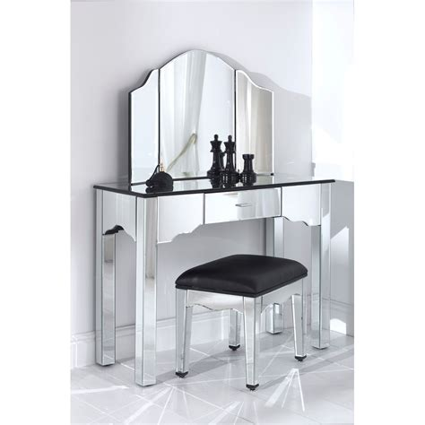 bathroom vanity table with three mirror and marble