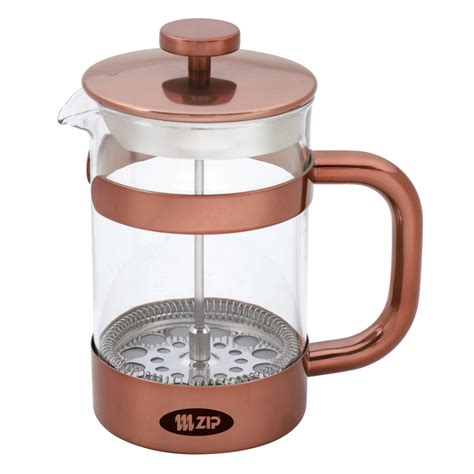 The coffee plunger, also known as a french press or cafetière, hasn't changed much since its invention in 1929. Zip Boheme ZIP998 Coffee Plunger Copper 1000ml   Briscoes NZ