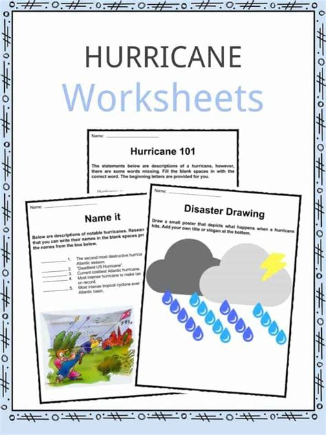 hurricane facts worksheets storm category classification for kids