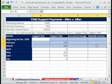 law class excel  child support payments template