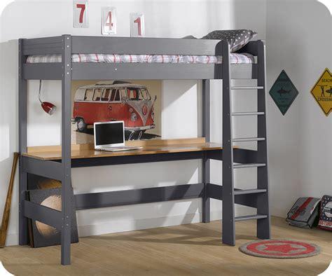 bureau lit lit mezzanine clay gris anthracite avec bureau