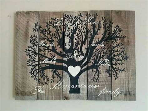 custom family tree wood pallet sign  barberfarms  etsy
