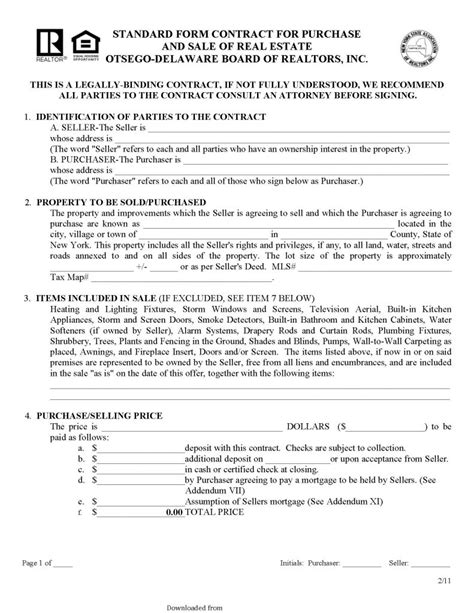 delaware standard form contract  purchase  sale