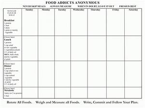 Annual Menu Planner And Journal Food Addicts Anonymous