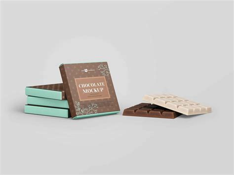 Layered psd easy smart object insertion license: Free Square Bar of Chocolate Mockup (PSD)