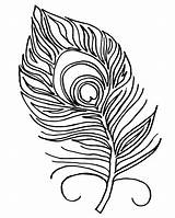 Feather Peacock Coloring Feathers Drawing Template Printables Stencil Clip Bird Pattern sketch template