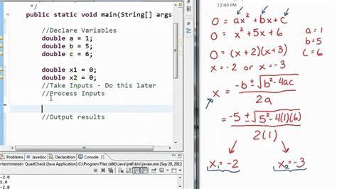 java math exle quadratic formula youtube