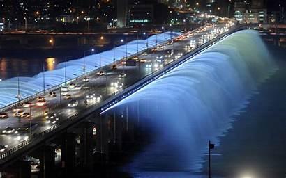 Seoul Korea South Wallpapers Desktop Fountain Bridge