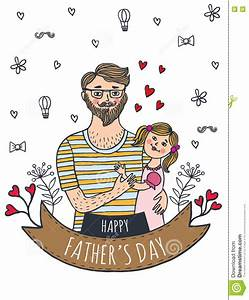 Happy Fathers Day Card With Dad And Daughter Stock ...