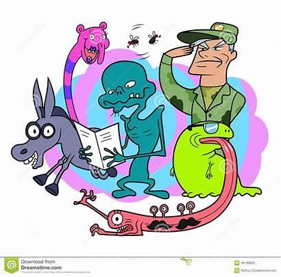 Cartoon Characters Random Funny Bizarre Creatures Vector