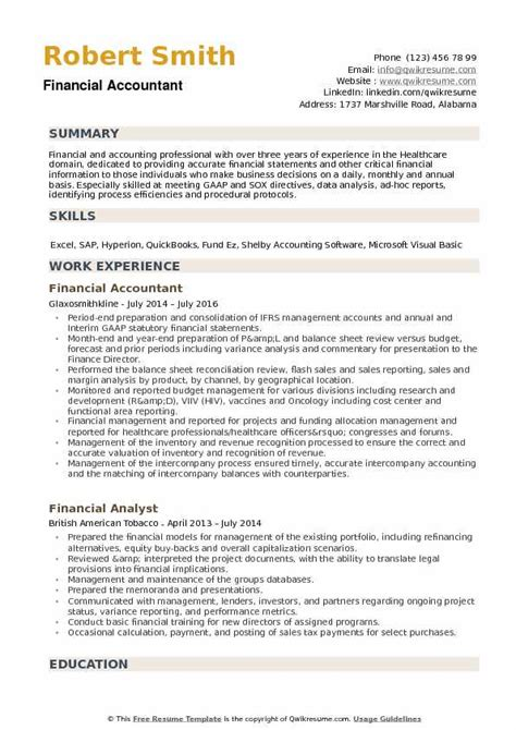 Resume For Accounting by Financial Accountant Resume Sles Qwikresume