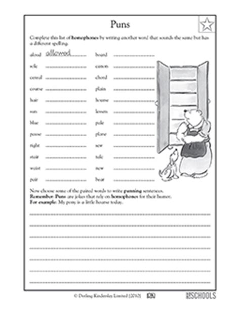 5th grade writing worksheets homophones with puns