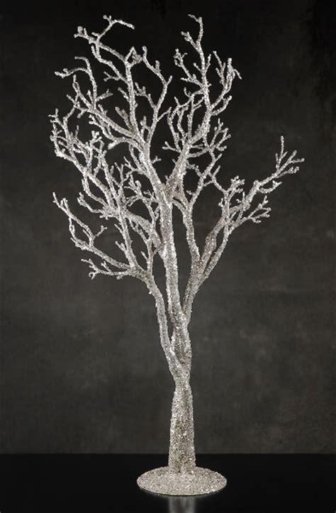 silver glitter  potted manzanita tree event decor