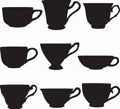 Tea Cup Teacup Vector Silhouettes Illustrations Clip