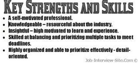 Skills And Qualities For A Retail by Resume Strengths Exles Key Strengths Skills In A Resume